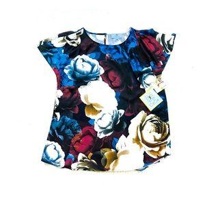 Cece Bold Floral Print Short Sleeve Blouse NWT